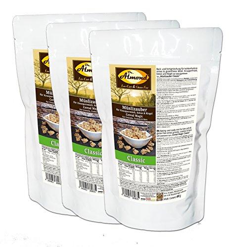 Dr. Almond Müslizauber Classic low-carb glutenfrei sojafrei zuckerfrei (3 x 400 g) - Für Knuspermüsli, Nussmüsli, Müsliriegel und Kekse