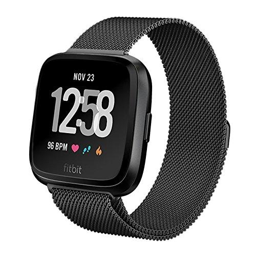 Heyroy Fitbit Unisex Versa Armband, Edelstahl Mesh Milanaise Loop Magnet Armband für Fitbit Versa Finess Smartwatch L Schwarz