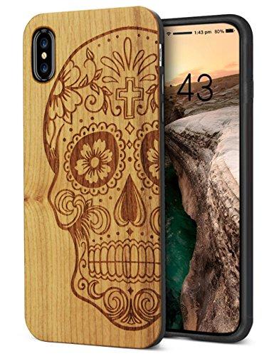 iPhone XS Wood Case iPhone X Case cool für volle Abdeckung Ausschnitte Premium-Holz-Carving-Stoßstange Rüstung Stoßkupplungsschutz stoßfeste Abdeckung 5,8 ' ' (Schädel)