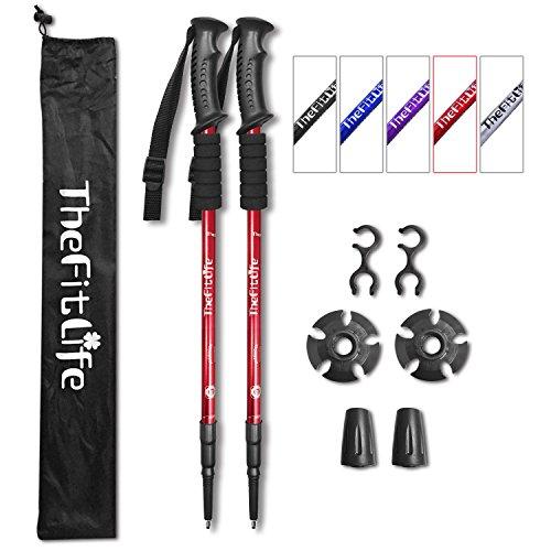 Paquete de 2 bastones theFitLife para senderismo en montaña, antigolpes, plegables, ultraligeros , rojo