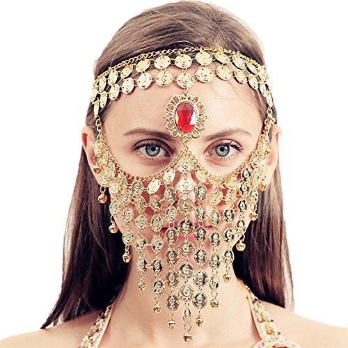 nz Ägyptischen Halloween Kostüm Kopfbedeckung Münzen Gesichtsmaske Schleier Tribal Beduine Burka Burqa Metall Kopf Kette (Golden) (Metall Kopf Halloween Kostüm)