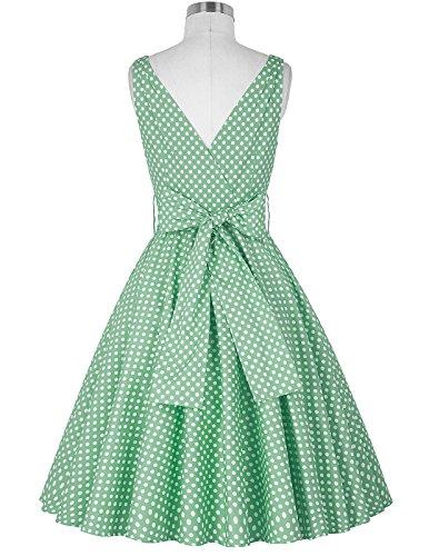 Vintage kleid 50s Damen Faltenrock Picknick kleid Polka Dots Sommerkleid - 2