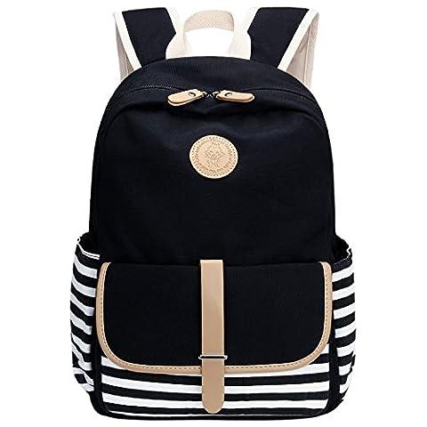 Bagerly Unisex Canvas Schulrucksack Rucksäcke Schultasche Laptoprucksack für Campus Studenten