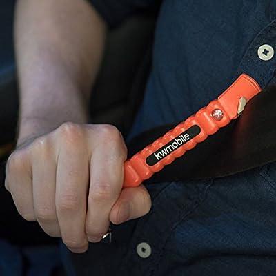 kwmobile 2x Nothammer Notfall Hammer mit Gurtschneider - Set für Auto Scheibe Glas Fenster Gurt - Kfz Notfallhammer für mehr Sicherheit - in Orange
