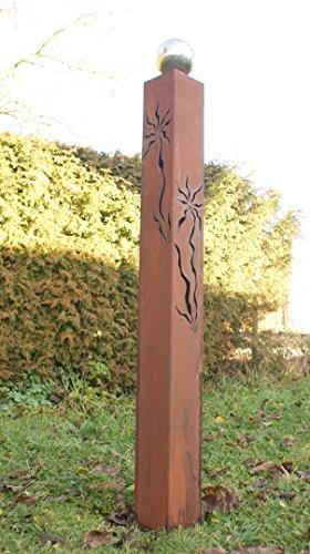 Rostsäule Jette 125 cm mit Muster zum Beleuchten Gartendeko Rostdeko