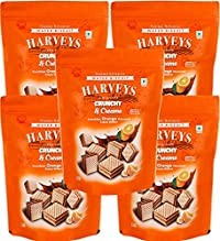 Harveys Crunchy & Creame Gourmet Delicacies Cream Wafer Biscuit 110 g Pouch Pack - Orange Flavoured(Pack of 5)