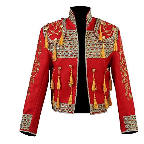 Partiss Herren Spanisch Matador Kostuem Europaeischen Gerichtshof Stierkampf Jacke Stickerei Quaste Zweiteilige (Kostüm Für Europäische Männer)