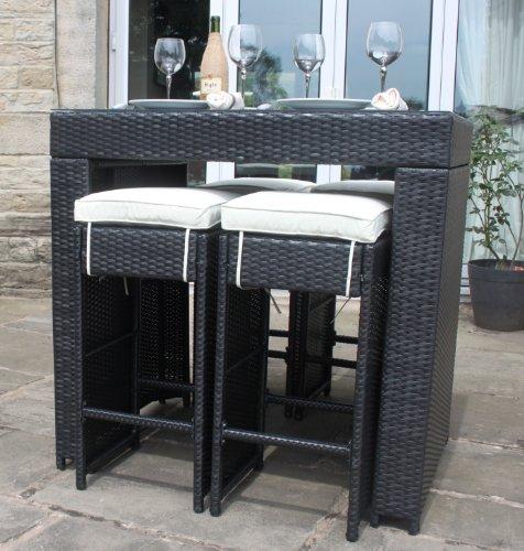 all weather black rattan outdoor garden furniture 5 piece. Black Bedroom Furniture Sets. Home Design Ideas
