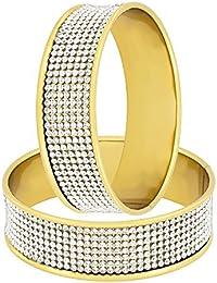 The Jewelbox Stylish Glossy CZ 18K Gold Plated Bangle Kada Set Of 2 For Girls Women