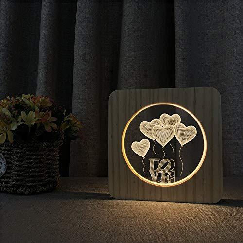 Lámpara de Grabado de Control de Interruptor de luz de Mesa de luz Nocturna de Madera de Globo de Amor para decoración de Habitaciones Infantiles