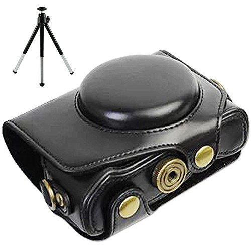 First2savvv XJPT-G7XII-01G6 Funda Cámara Cuero de la PU cámara Digital Bolsa Caso Cubierta con Correa para Canon PowerShot G7 X Mark II .G7X M2 Negro + Mini trípode