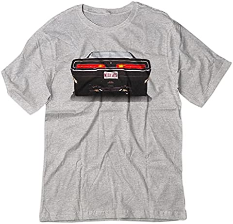 BSW Men's Nice Ass 1969 Dodge Charger V8 American Muscle Shirt MED Sport Grey
