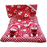 Safe N Cute Baby Rabbit Full Sleeping Set With Sheet (Red) - Trusted Brand High Quality / For Child Whose Age Is B/w 0 - 30 Months Or 2.5 Years /2 Rabbit Pillows , 1 Super Soft Sleeping Base, 1 Sheet , 1 Rectangular Pillow / Combo Pack