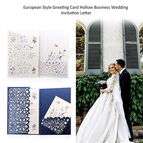 nladungs-Karten-hohler Einladungs-Brief elegant mit Spitze-Blumen-Gruß-Karte für Brautparty-Geburtstags-Staffelungs-10pcs weiß blau ()