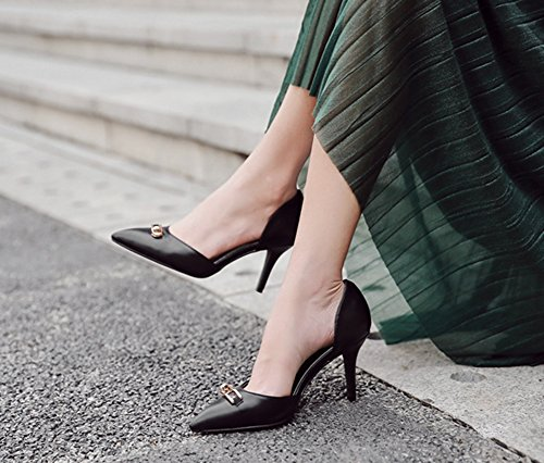 Aisun Damen Klassisch Kunstleder Spitz Zehen Geschlossen Stiletto High Heels Pumps Sandale Schwarz