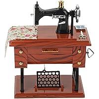Mini Caja de música de Reloj de Costura Vintage Creativa decoración de Mesa de Regalo Retro
