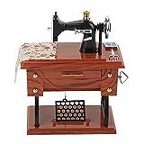 Mini Caja de música de Reloj de Costura Vintage Creativa decoración de Mesa de Regalo Retro Juguetes