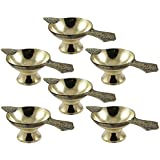 E-Handicrafts Set Of 6 - Handmade Indian Puja Brass Oil Lamp - Diya Lamp Engraved Design - 2 X 4.5 X 1.4 Inch, For Diwali