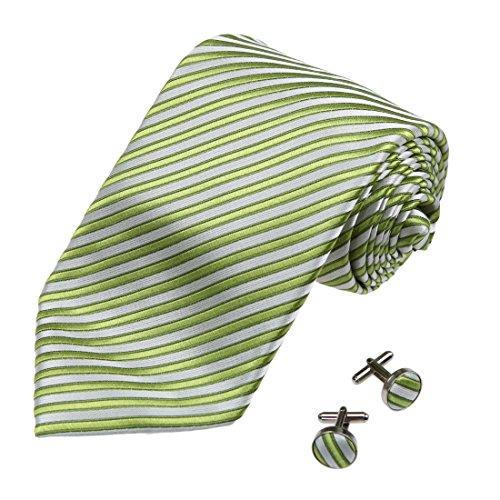 A2095 Gelb Gr¨¹n Streifen Klassisch Geschenk geben One Size Seide Krawatten Manschettenkn?pfe Set 2PT Von Y&G