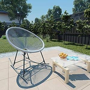 Tidyard Gartenstuhl Schaukelstuhl Rattan + Stahl, Schaukelsessel Schwingstuhl Relaxsessel Schwingsessel für Balkon…