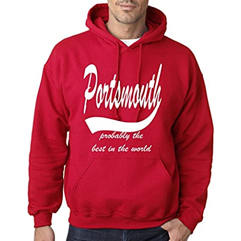 PORTSMOUTH Probably The Best Mens Hoodies White Cherry Red 2XL To Fit Chest 46-48