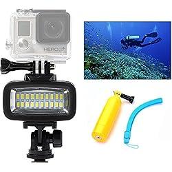 Orsda Underwater Diving Light 40M Etanche 20 LED Lampe de plongée Lampe vidéo Hicht Power Dimmable Lampe de plongée pour GoPro Hero XiaoYi SJCAM Canne de flottaison Sony Nikon Canon 700lM