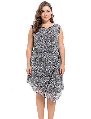 Chicwe Damen Gesäumten Skwing Binding Große Größen Chiffon Kleid mit Einfügen Saum Panel Schwarz 4X (Panel Tank Kleid)