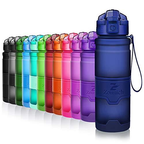 ZOUNICH Trinkflasche Sport BPA frei Kunststoff Sporttrinkflaschen für Kinder Schule, Joggen, Fahrrad, öffnen mit Einer Hand Trinkflaschen Filter, Dunkelblau, 32oz/1000ml