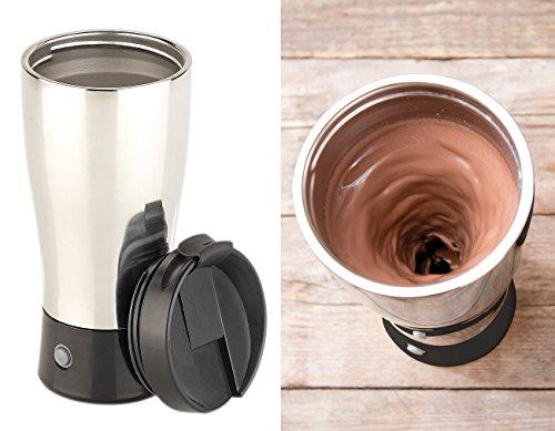 Rosenstein & Söhne Selbstrührender Becher: Selbstrührender Thermobecher mit elektrischem Quirl, 450 ml, BPA-frei (Thermosbecher)