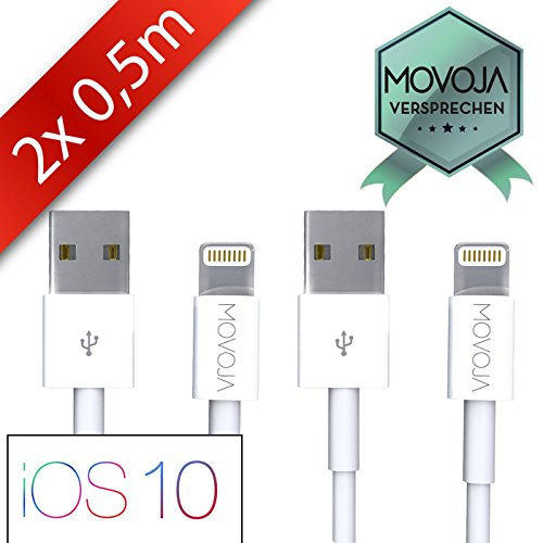 Preisvergleich Produktbild 2 x 0,5 Meter Lightning Kabel MOVOJA® | Lightning zu USB Kabel | Apple Ladekabel [Lebenslange Garantie] für iPhone 7 / 6s / 6 / iPhone 6 Plus / 6s Plus / 7 Plus, iPhone 5 / 5s / SE, iPad Air 2 / Mini 3 / iPod 5 / Nano 7 - MOVOJA®