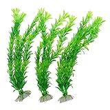 TOOGOO(R) Set di ornamenti piante subacquee per acquari in plastica a 3 pezzi, 12,2 pollici, verde
