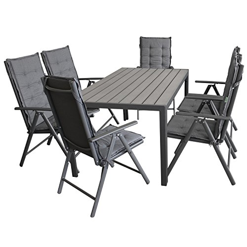 Wohaga Gartenmöbel-Set Gartentisch, Aluminiumrahmen Anthrazit, Tischplatte Polywood Grau, 150x90cm...