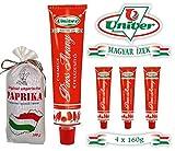 Univer SPARSET 4 x 160g MILDE Paprikacreme Rotes Gold und 1 x 100g MILDE Paprikapulver aus Katymar Ungarn