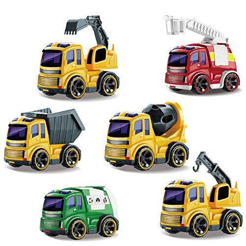 YUHT Camions Cars,camions Jouets Engins de Construction Vehicules Chantier Ensemble Metal Construction Petite Voiture Miniature Enfant 3 Ans et Plus (6 Pcs)