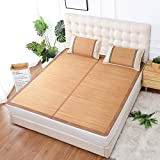 AMYDREAMSTORE Sommer Topper matratzenauflage kühlung Doppelseitige Foldale Bambus isomatte Sleeping mat Verkohlt bambusmatte-B 150x195cm(59x77inch)