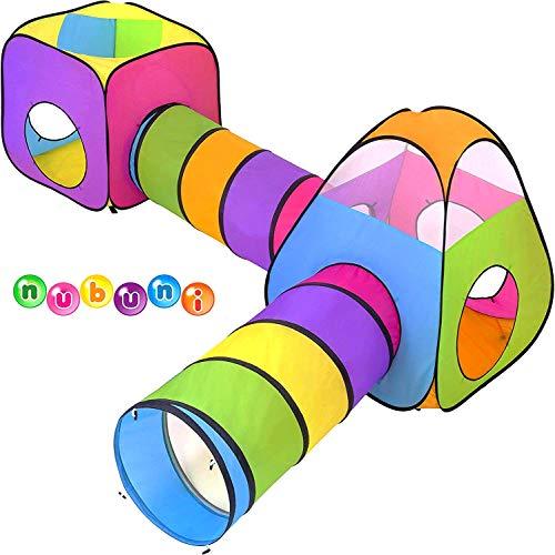 NUBUNI 4 en 1 Pop Up Jouer Tente avec Tunnel, Balle Pit pour Les Enfants, garçons, Filles, bébés et Enfants en Bas âge, Playhouse intérieur / extérieur