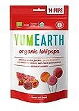YumEarth - Piruletas Orgánicas de Frutas 4 sabores: Granada, Sandía, Fresa, Melocotón - 14 unidades