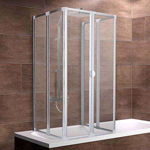 Schulte Duschabtrennung München, 140 cm hoch, 2x3-teilig faltbar, 3 mm Sicherheits-Glas klar, alu-natur, geschlossene Duschkabine für Badewanne