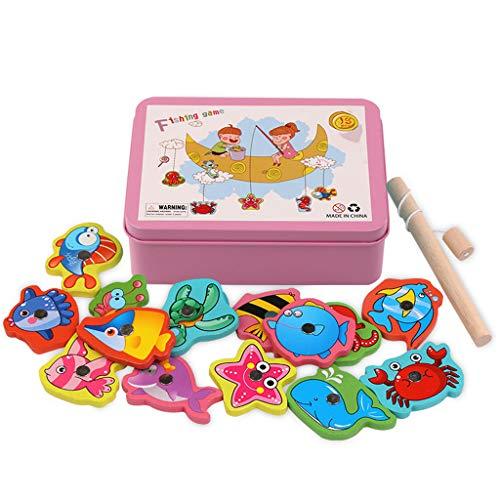 Happy event Baby Bad Angeln Spielzeug, Kinder Kinder Kleinkinder Bad Wasser Spielzeug mit einem magnetischen Angelrute, 13 Meer Zeichen und eine Box zum Speichern von Spielzeug