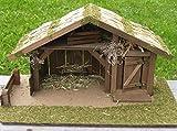Krippe Weihnachtskrippe Holzkrippe Krippenstall REETHUS Handarbeit für Figuren bis 12 cm