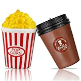 PROACC 2 PCS Squishy Jumbo, Tasse à Café + Popcorn, Slow Rising Pack Jouets, Kawaii Jouets Squishy Stress Relief Jouets