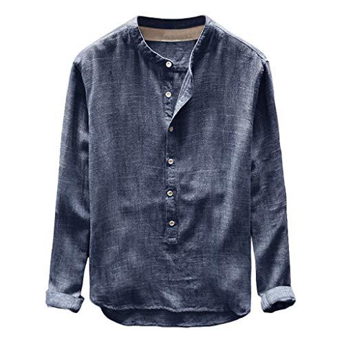 T-Shirt Retro Baumwolle Leinen Hemd Casual V Ausschnitt Langarmshirt Tee Basic Shirt Einfarbig Lose Coole Hemden Hippie Kleidung
