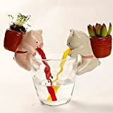 Generic Mini Auto Water Absorption Animal Potted Plants Office Desktop Plant One Piece