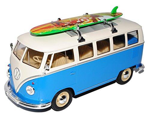 alles-meine.de GmbH VW Volkswagen T1 Blau Weiss mit Surfbrett Samba Bully Bus 1950-1967 1/24 Welly Modell Auto