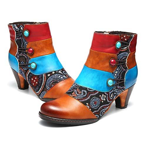 795b186db7b gracosy Stiefeletten Damen mit Absatz Braun Leder Winter Fell Gefüttert  Warme Schnee Stiefel Party Schuhe Handmade