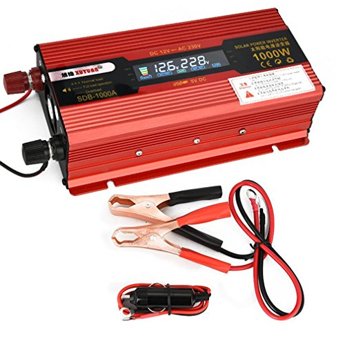 leoboone Xuyuan Auto-Inverter DC12V 50Hz Red Power Converter-Inverter mit Display-Bildschirm mit USB-Anschluss Lüfter-System - 50hz Power Inverter