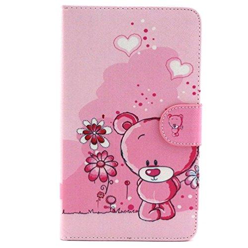 Galaxy Tab 4 7 Zoll Etui ,PU Ledertasche im Bookstyle Leder hülle für Samsung Galaxy Tab 4 7.0 Zoll SM-T230 T235 Tasche Hülle Flip Case Cover Schutzhülle Etui mit Standfunktion - Rosa Bär