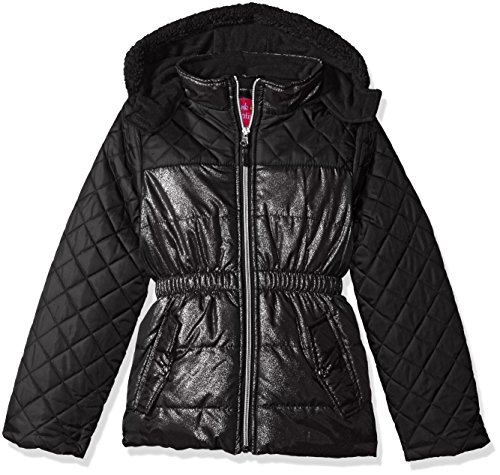 Pink Platinum Toddler Girls' Quilted Puffer Jacket Mixed With Spray Foil, Black, 2T (Trench Print Coat Animal)