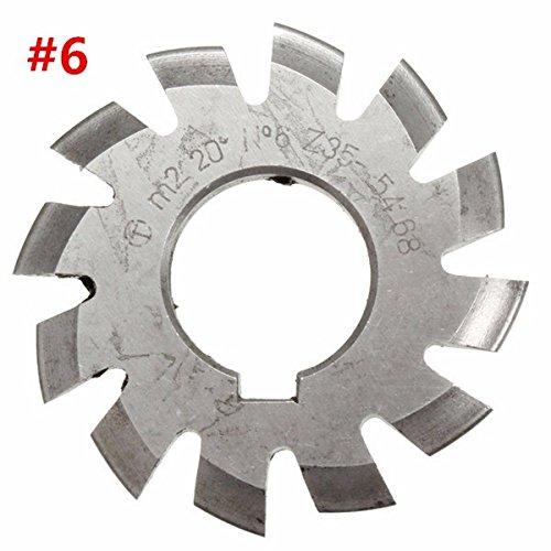 CoCoCocina Modul 2 Durchmesser 22 mm 20° #1-8 HSS Involute Getriebefräser #6