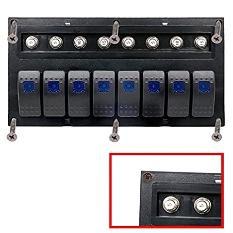 Rocker Switch, Hansee IP66 8 Gang Waterproof Car Auto Boat Marine LED Rocker Switch Panel Circuit Breakers